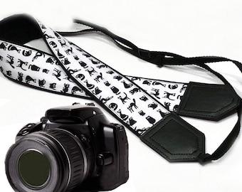 Cat camera strap. Black and white. DSLR Camera Strap. Camera accessories. Nikon Canon camera strap.