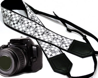 Chess camera strap. Game Camera strap. Grey SLD/ DSLR Camera Strap. Camera accessories by InTePro