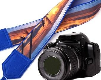Blue DSLR Camera Strap. Sea Camera Strap. Beach camera strap. Camera accessories. Photographer gift.