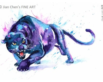 black panther - mounted original painting