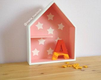 House Shaped Shelf, Wooden House Shelf, Kids Shelf. House Shadow Box.
