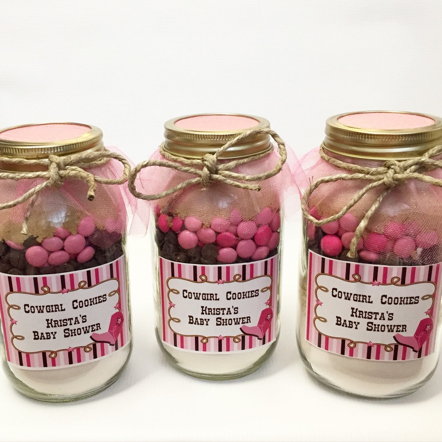 Pink Cowgirl Mason Jar Layered Gourmet Cookie Mix