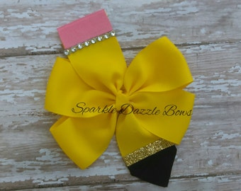 Back to school bow, pencil bow READY TO SHIP