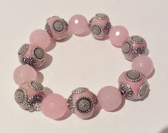 Bracelet 18cm Features High  Quality Kashmiri beads.. Pink. Silver Plated Patterns.Pink Dyed Jade Gemstone round spacers