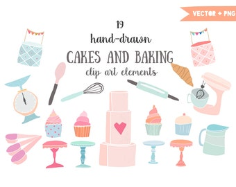 Cakes and baking clip art, mixer, cupcakes clipart, cupcake stand, cake clip art, croissant, bakery, hand drawn, kitchen clipart