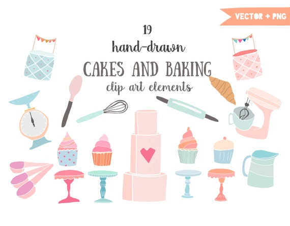 ... stand, cake clip art, croissant, bakery, hand drawn, kitchen clipart