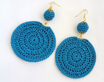 Gold/Champagne/Ivory/Blue/Black Crochet Statement Earrings