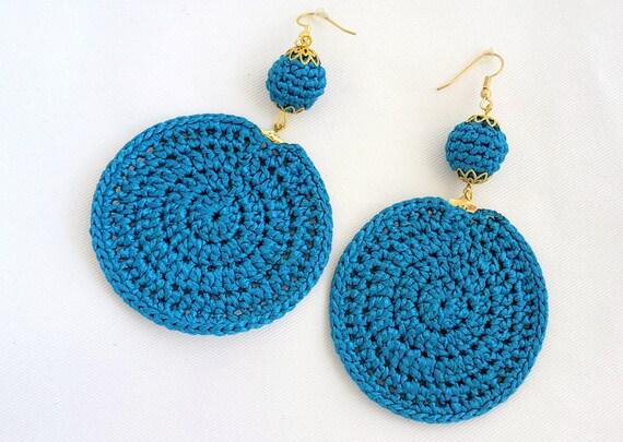 Gold/Champagne/Ivory/Blue/Black Crochet Statement Earrings