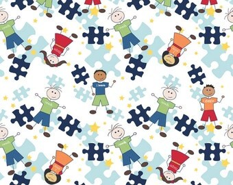 Riley Blake Pieces of Hope 2 Autism Awareness Fabric on White and Blue Main 1 Yard or 1/2 Yard