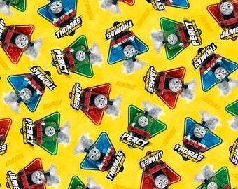 Thomas The Train on Yellow Cotton Fabric by Quilting Treasures
