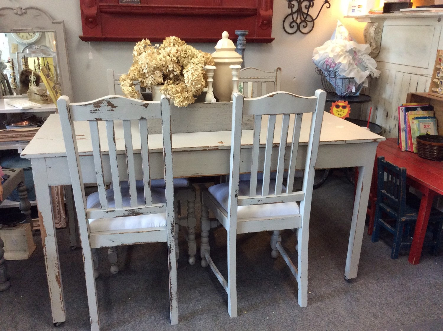 Amazing Light Gray Antique Farmhouse Kitchen Dining Table on Casters w 4 Cha