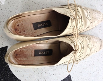 Women's Bally Wingtip Shoes with Heel Made in Italy