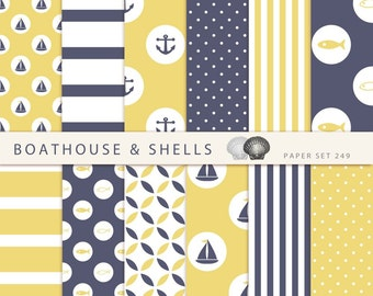 SAIL BLUE & YELLOW Scrapbooking digital paper pack - 12 digital papers with fish/anchor/boat print - instant download - printable - 249