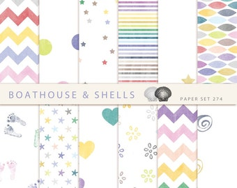 COLORFUL SUMMER, Scrapbooking digital paper pack with dots/hearts/stars/flowers/chevron/..., printable, instant download - 12 papers - 274