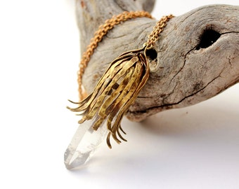 Raw Crystal Quartz and Hammered Brass Pendant, Natural Clear Large Crystal Point, Organic Jewelry, Boho Chic Necklace.