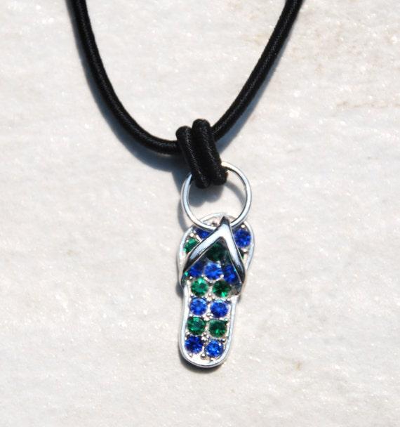 handmade flip flop pendant necklace sterling by. Black Bedroom Furniture Sets. Home Design Ideas
