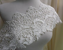 Venice lace trim graceful ivory color for gown, costume design, altered couture