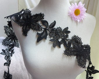 Venise Lace Black Leaf and Flower Trim Applique for Wedding dress, Applique Lace, Jewelry or Costume