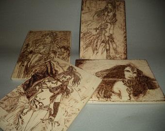 Warrior girls -set of 4 pyrography -according to Louis Royo s work