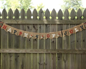 July 4th Banner / Fourth of July Banner / USA Banner / Happy 4th of July / Custom Burlap Banner