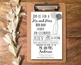 Personalized DIGITAL File: His and Hers Printable Couples Wedding Shower Invitations