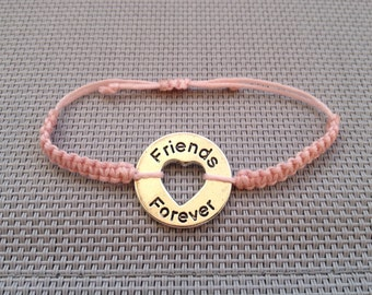 Friends Forever Bracelet, Friendship Bracelet, Hope  Charm Bracelet, Heart, Round Circle, Best Friends Forever, Heart Charm