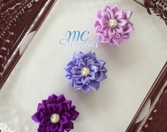 Purple ribbon flower,flower ribbon applique,hair clip flowers,headband flower,hair pin flower,brooch flower,hair accessories,hair flower,143