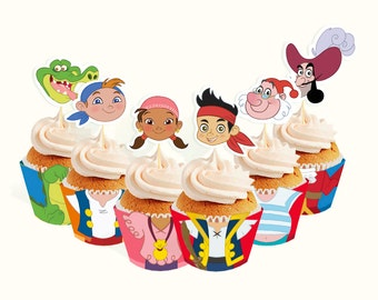 INSTANT DOWNLOAD Jake and the Neverland Pirates cupcake toppers and wrappers