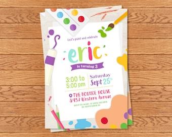 Personalized Art Party invitation (digital file)