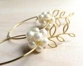 Pearl Flower Earrings Pearl Earrings Floral Gold Hoops Nature Themed Leaf Hoop
