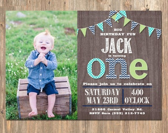 First Birthday Invitation, Boy's 1st Party Invite, Rustic, Wood, Banner, Printable, Navy Blue, Green, Teal, Vintage, Invitations Invites Boy