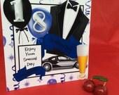 Birthday boy man 18 or 21, tuxedo balloons posh car James Bond inspired