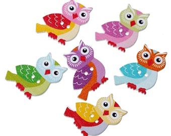 "Wooden Assorted Owls Design Sewing Buttons.26.0mm(1"") x 23.0mm( 7/8""). Ideal for Sewing, Scrapbook and Crafts"