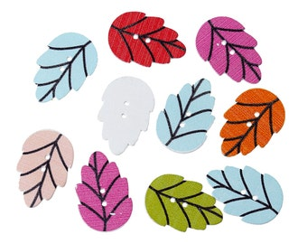 "Wooden Assorted Leaf Design Sewing Buttons.30.0mm(1 1/8"") x 20.0mm( 6/8""). Ideal for Sewing, Scrapbook and Crafts"