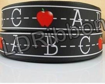 "7/8"" ABC Teacher Grosgrain Ribbon"