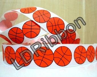 """7/8"""" Basketball Grosgrain Ribbon"""