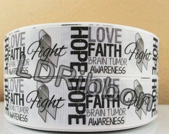 "1"" Brain Cancer Awareness Grosgrain Ribbon"