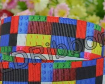 """7/8"""" Building Block Grosgrain Ribbon"""
