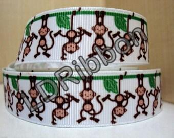 "7/8"" Monkey Grosgrain Ribbon"