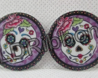 Lady Candy Skull Flat Back Resins (Set of 2)