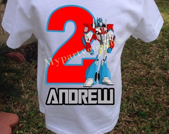 Optimus Prime Transformers Birthday Shirt, Transformers Shirt, Boys Birthday Shirt, personalized shirt.