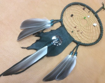 Dream Catcher, 6 Inch Leather Dream Catcher with Gemstones and Duck Feathers, OOAK Original Forest Green Dream Catcher, Handmade in Canada
