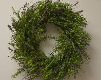 No. 4051  Lavender, Rosemary and Eucalyptus Wreath and Centerpiece. Front door wreath.