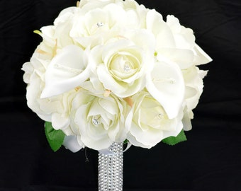 No. 4062 Silk Wedding Bouquet with Off White Roses and Callas, Artificial Flower Bouquet,  Wedding Bouquet, Bridesmaid Bouquet.
