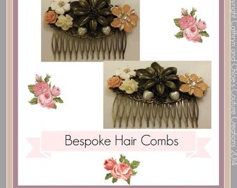 Hair comb, vintage style, bronze flower and enamel white and peach flower detailling