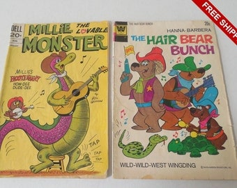 Vintage 1973 Set of 2 Comics Millie the Monster & the Hair Bear Bunch