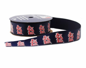 Offray MLB St. Louis Cardinals Fabric Ribbon, 7/8-Inch by 9-Feet, Blue/Red