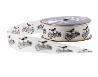 Offray MLB Baltimore Orioles Fabric Ribbon, 7/8-Inch by 9-Feet, White/Black