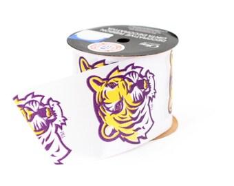 """2.5"""" Louisiana State University (LSU) Tigers Ribbon  - NCAA RIBBON - Offray - 9 feet -White/Purple/Yellow - Offray College Ribbon"""