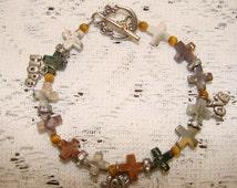 Small Stone Cross Beaded Bracelet with Hope, Joy, Love Charms